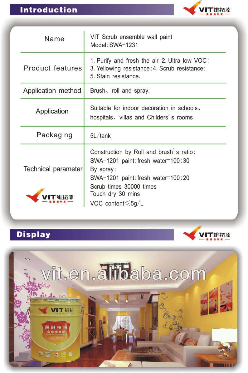 VIT washable building exterior concrete wall paint,paint colors exterior