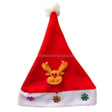 China Alibaba no sew applique deer pigeon squirrel polyester Xmas cap fabric christmas hat ideas with pompon for holiday gifts