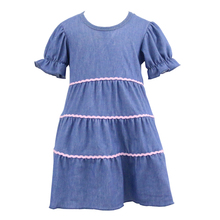 2017 fashion short sleeves Lovely Hot Kid Girls Jean Denim Ruffled Dress