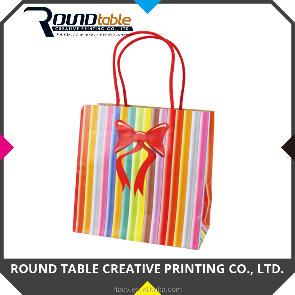 Customized Printing Colorful Gift Paper Bag with Cotton Handle and Hot Foil