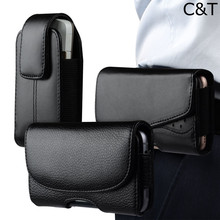 C&T Premium Black Belt Loop Holster Horizontal Leather Sleeve Pouch Case for Samsung Galaxy S8