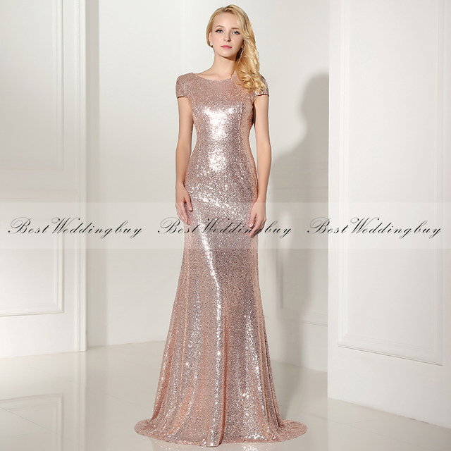 Wholesale Latest Design Cap Sleeve Floor-Length Rose Gold Sequins Long Bridesmaid Dresses SD347