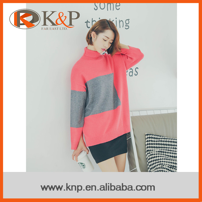 OEM Sevice stylish knitted pullover turtleneck sweater design for women