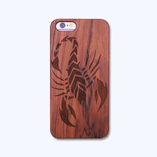 For iphone 5 5s 5se 6s 6 6plus Scorpion Parttern Precision Fit Wooden Phone Case Anti Scratch Cover Mobile Phone Accessories