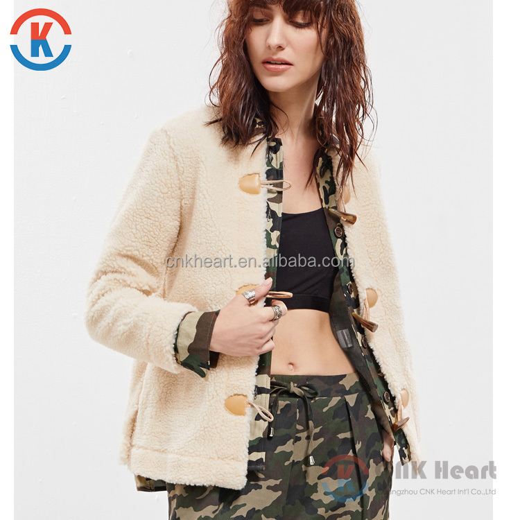 Fashion Women Beige Camo Trim Fleece Duffle Jacket