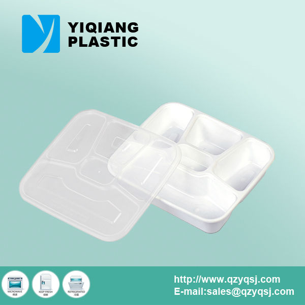 5-compartment disposable hermetic plastic food container