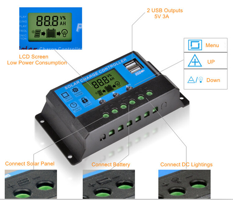 LCD display Double USB PWM 12V 24V 30A 20 amp pwm solar charge controller manual