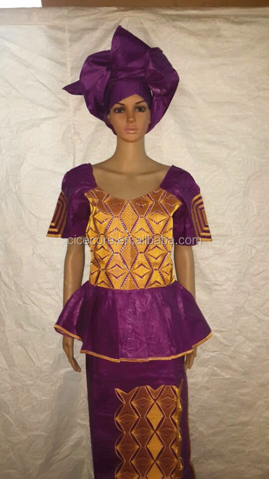 2015 new african fashion design african bazin riche embroidery dress three pcs
