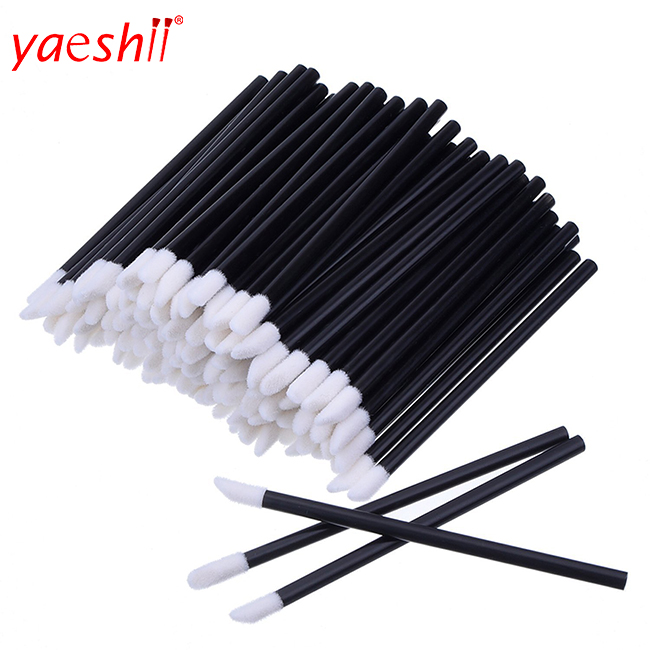 Yaeshii 100pcs Cheap cosmetic lipstick lip gloss plastic disposable lip <strong>brush</strong>