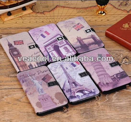 Retro Old Paris LA Tour Eiffel Tower Book Flip Wallet Leather Case Cover for Samsung Galaxy Note 3 N9000 Leather case