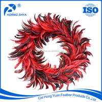 Manufacturer High Quality Varieties Sizes Dyed Decorative Coque Tails Feather Wreath Christmas Wreath