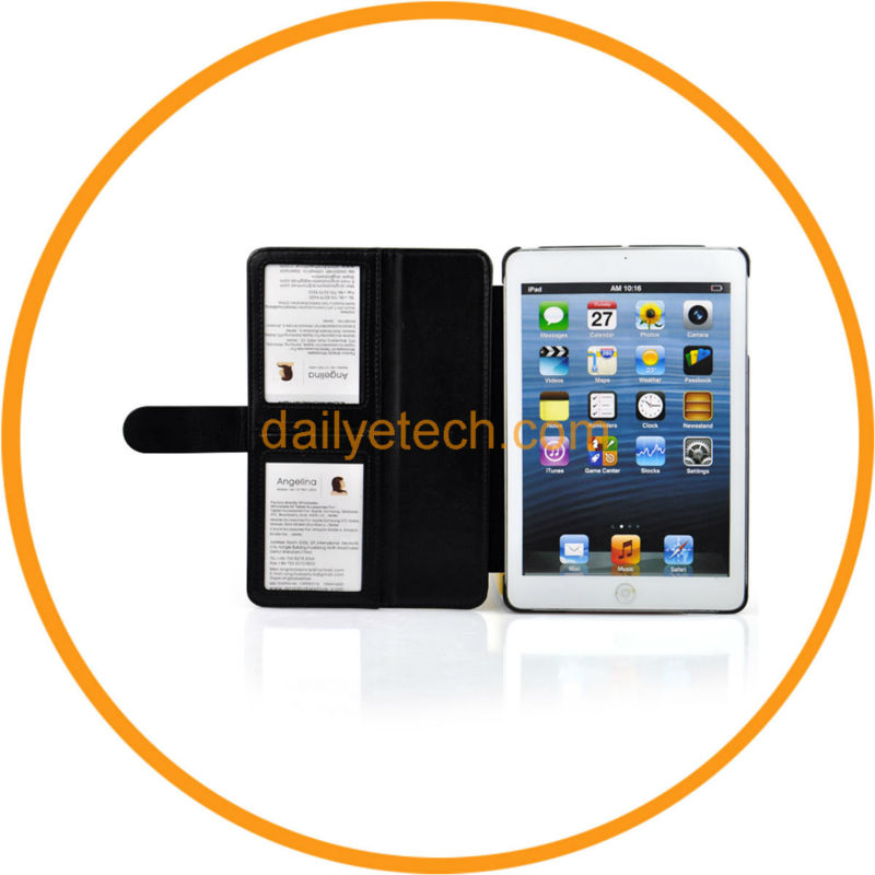 For iPad Mini PU Leather Folio Case Belt Closure Handheld Stand from dailyetech