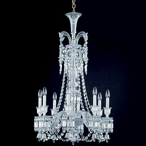 Comercial Baccarat Style 8 Lights Silver Crystal Glass Chandelier Zhongshan Light