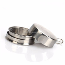 Best quality outdoor sport novelty 60ml stainless steel collapsible hiking water cup with key chain with custom privater label