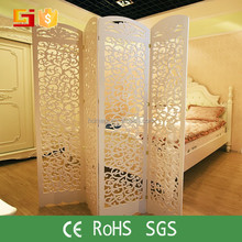 White color foldable removable laser cut wood screen dividers panels