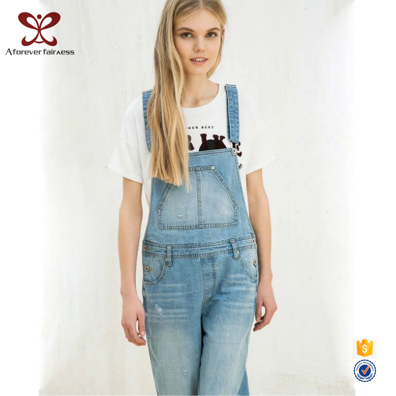 2017 Wholesale Fashion Latest Model Denim Overalls Ripped Jeans Women
