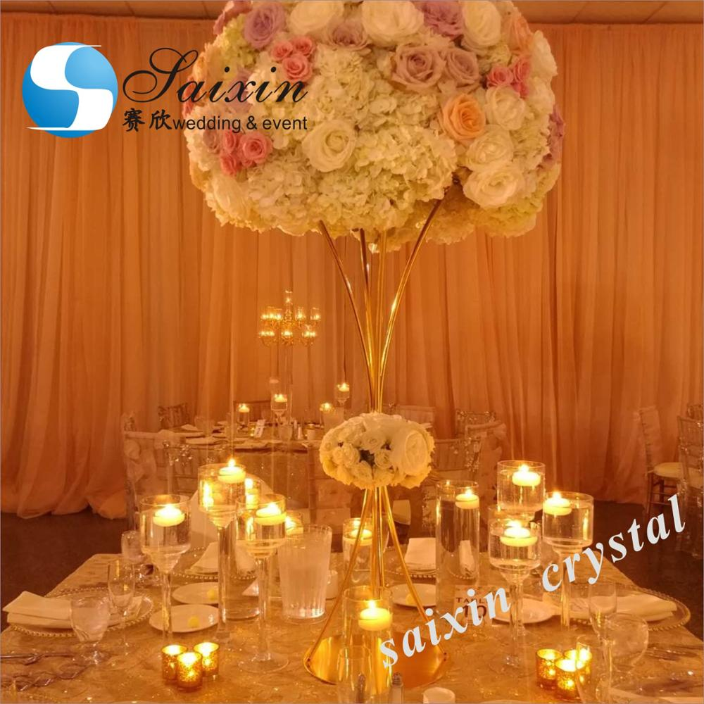 Gold Flower Table Vase Stand for Wedding Centerpiece <strong>Decoration</strong>