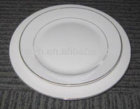 Royal white fine china porcelain With double silver thread decal household porcelain plates dinnerware set