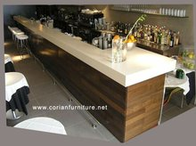 Low price Acrylic solid surface solid wood built custom sized coffee bar counter