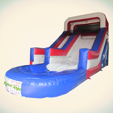 American flag color used party event inflatable water slide with pool for sale