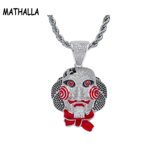 Hiphop Micro Paved Full CZ Stone Saw Doll Head Mask Pendant Necklace Men's Hip Hop Jewelry