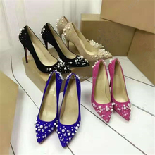 Sexy design pearl diamond crystal women low cut high heel stilettos pointed toe elegant heel pumps women rhinestone shoes