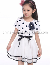 faQ106 2015 wholesale summer fashion cotton hot sale New south korea black dots ladies girls party white yarn dresses