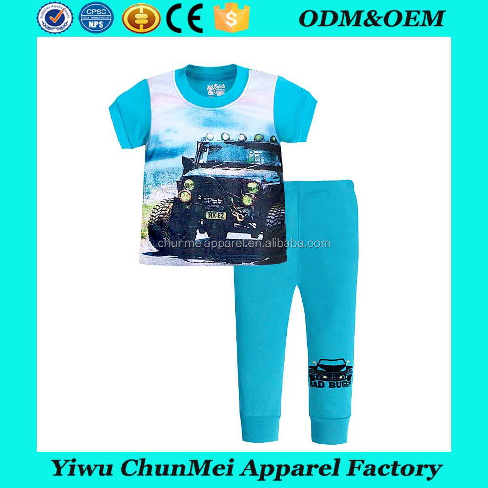 child clothes 2017 summer 3d t shirt kids pajamas baby pajamas bad buggy fashion sleepwear