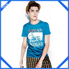 2014 men summer plain blue promotion t-shirt logo printing