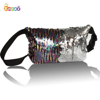 Encai Magic Reversible Mermaid Sequins Waist Bag Glittering Paillette Waist Pack