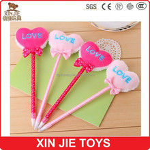 kids plush heart shape pecil heart shape plush pen cheap plush ball pen
