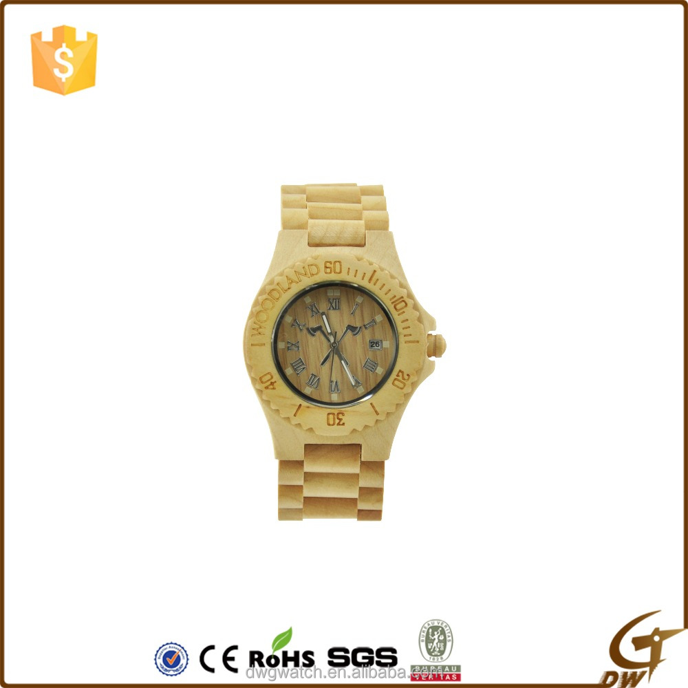 alibaba hot products rotating bezel wooden watch 2016 with simple face