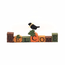 Fall season welcome holiday antique blocks sunflower table letters standing decoration
