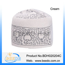 Traditional embroidery omani islamic white kofi hat for men