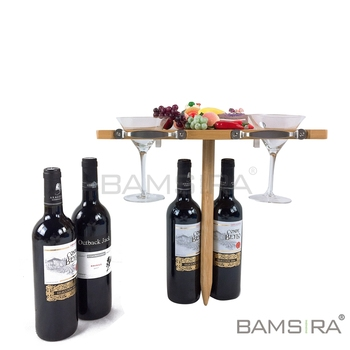 Premium Bamboo In-Ground Wine Glass Holder and Picnic Table