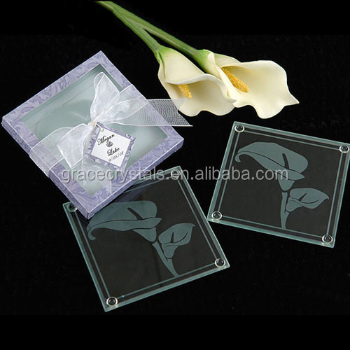 Clear glass cup mat placemat blank engravable glass coaster