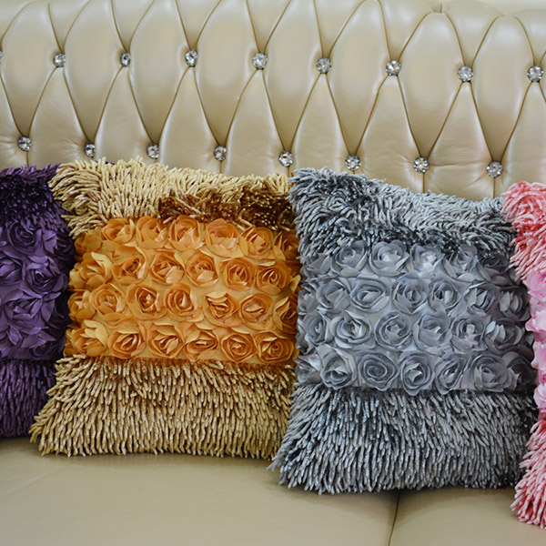 Home hotel office decorative chenille flower cushion pillow factory supplier