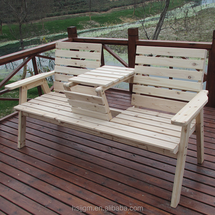 outdoor wooden 2 seat bench with table
