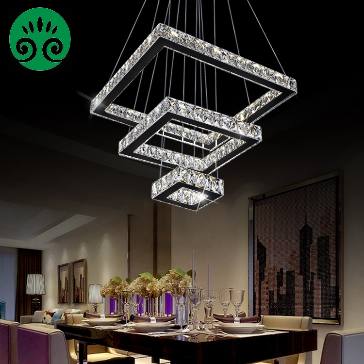 2018 Luxury Modern LED 3 Tier Square LED Crystal Chandelier Pendant <strong>Light</strong>