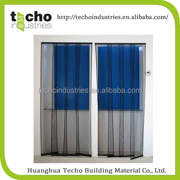Keep fresh air in polyester magnetic stripe mesh door curtain