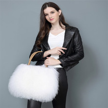 new style autumn winte shoulder mongolian lamb fur bag for charm