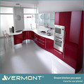 2017 europe hot sale customized red lacquer kitchen unit