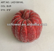 "2014 New Artificial Fake Fruits Christmas 6*8"" Artificial Sugar Pumpkin With Glitter Christmas Decoration"