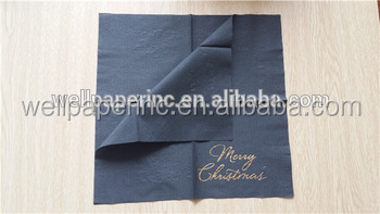 gold stamping logo printed Black paper Luncheon Dinner Napkins