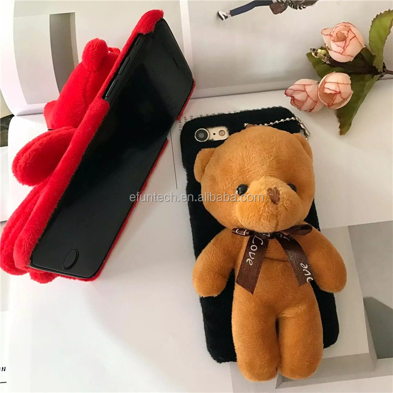 New design lovely winter girl use plush bear mobile phone cover for iphone 7 7 plus cover