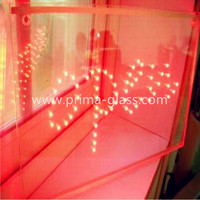 Prima red tinted LED toughened laminated glass