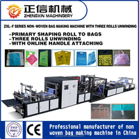 ZXL-F700 Full Auto Non-woven Flat Bag Making Machine with online handle attaching and three rolls unwinding