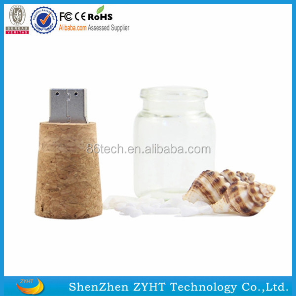 2016 hot selling low price Drift Bottle USB 2.0 Flash Drive Wooden Gift Pen Drive 4GB 8GB 16GB 32GB 64GB