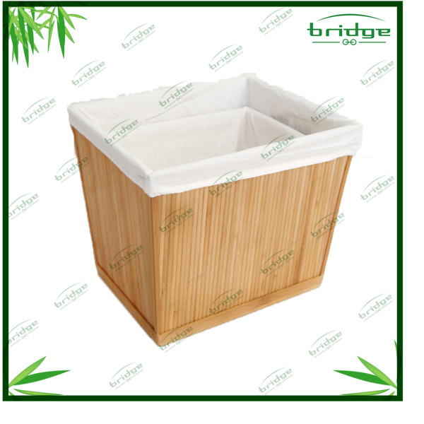 bamboo storage basket laundry bin clothe basket coner bin with inner