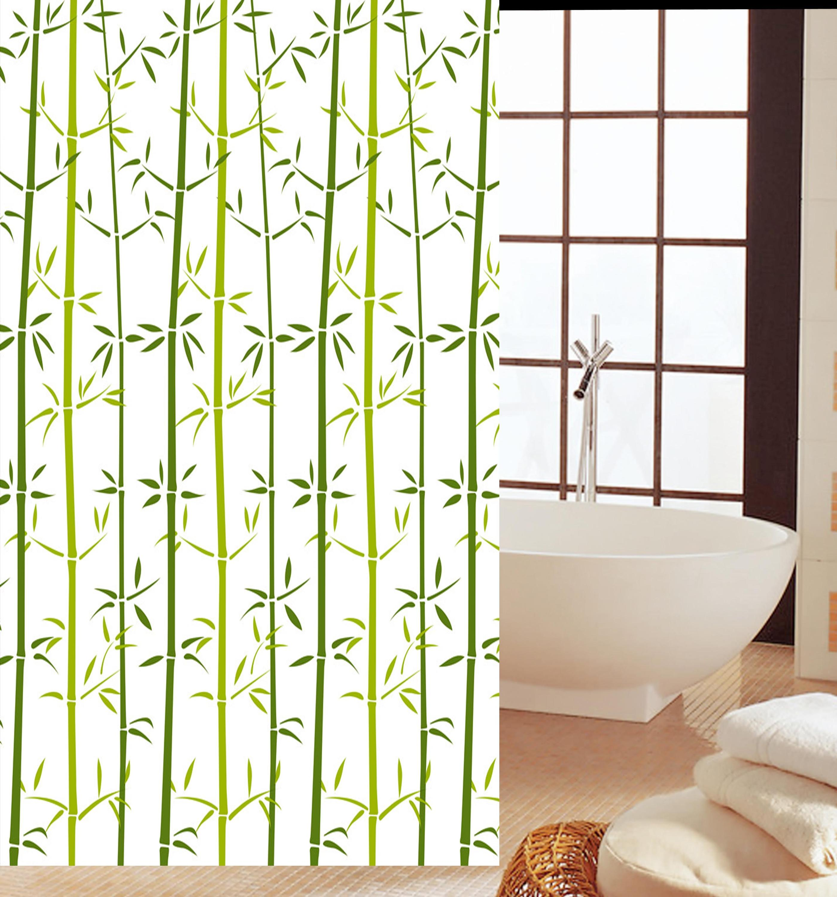 Manufacturers supply bamboo pattern Chinese style design PEVA shower curtain